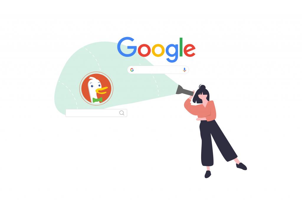 Woman Investigating DuckDuckGo SEO vs Google SEO